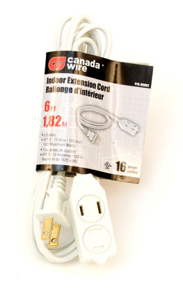 Picture of Canada Wire 16 Gauge Indoor Extension Cord 3 Outlet, White, 6FT