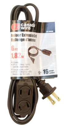 Picture of Canada Wire - 16-2 SPT-2. 3 Outlet Indoor Extension Cord, Brown, 6FT