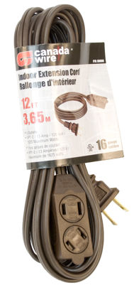 Picture of Canada Wire 16-2 SPT-2. 3 Outlet Indoor Extension Cord, Brown, 12FT