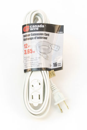 Picture of Canada Wire - 16-2 SPT-2. 3 Outlet Indoor Extension Cord, White, 12FT