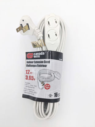 Picture of Canada Wire - 16-2 SPT-2 Flat Plug 3 Outlet Cube, White, 12FT