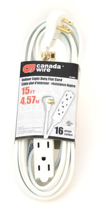 Picture of Canada Wire - 16-3 SPT-3 Flat Plug Banana Indoor Extension Cord, White, 15FT