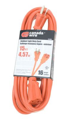 Picture of Canada Wire 16-3 Single Outlet 16 Gauge Outdoor Extension Cord, Orange, 15FT