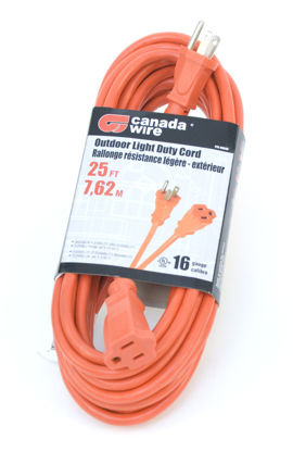 Picture of Canada Wire 16-3 Single Outlet Extension Cord, Orange, 25FT