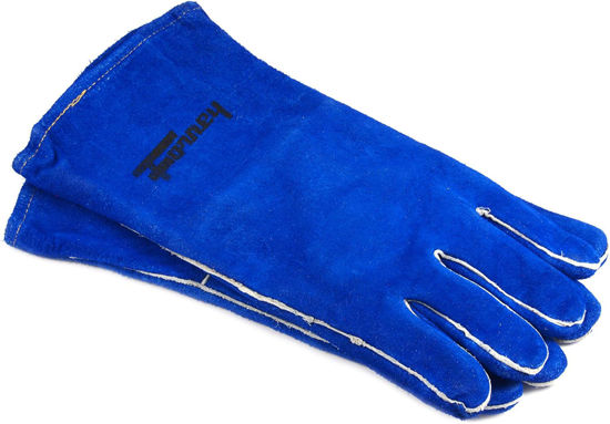 Picture of Forney 55203 - Welding Gloves, Deluxe Lined, Blue Leather [Large]